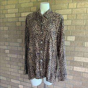 Vintage Leopard Print Button Up Collard Blouse Lrg